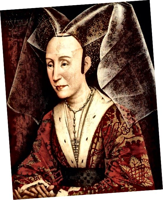 Ուշ միջնադար. Պորտուգալիայի թագուհի Իզաբելլա ՝ Բուրգունդյան ոճի զգեստներով