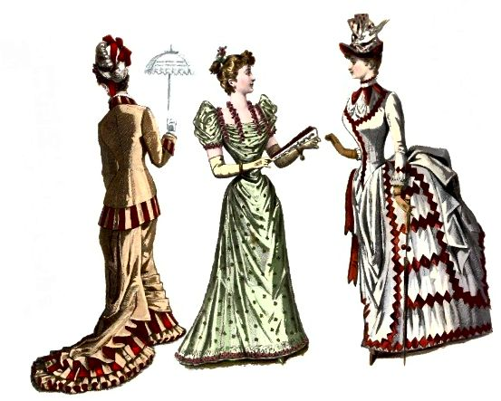 Viktoriánské módní talíř: vlevo je rané šaty z 80. let 20. století; centrum je večerní šaty z osmdesátých let; vpravo jsou denní šaty z poloviny osmdesátých let.