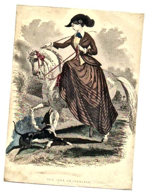 Viktoriánský jezdecký zvyk kolem roku 1847 - v té době ženy jezdily po sedle.
