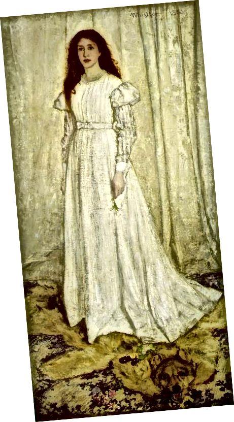 """Žena oblečená způsobem estetiky; """"Symfonie v bílém,"""" obraz 1862 James Abbott Whistler"""