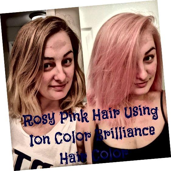 मेरी गुलाबी गुलाबी बालों की फोटो के पहले और बाद में।