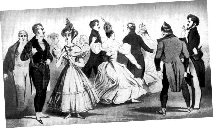 ब्यू ब्रुममेल, सबसे बाईं ओर चित्रित, पोशाक में सरलता-हालांकि कपड़े की गुणवत्ता और शारीरिक स्वच्छता के बारे में बहुत ही तेज थी। उन्होंने इस अवधि के दौरान शैली को प्रभावित करने के लिए बहुत कुछ किया।