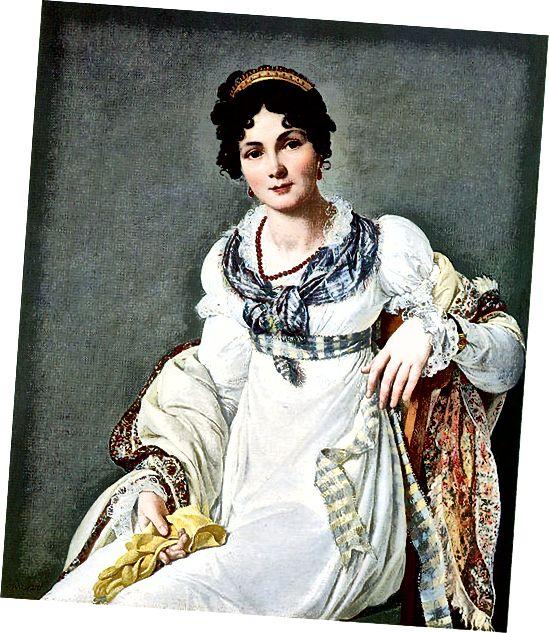 एक महिला का एक 1810 का चित्र जो एक अत्यधिक आकर्षक शैली में उसके बाल पहने हुए है!