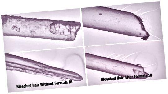 Vzorec 18, vyrobený s hrachovými peptidy, proniká mezi povznesenými šupinami v kutikule, aby vytvořil efekt sešívání typu s hladším a zdravějším vzhledem.