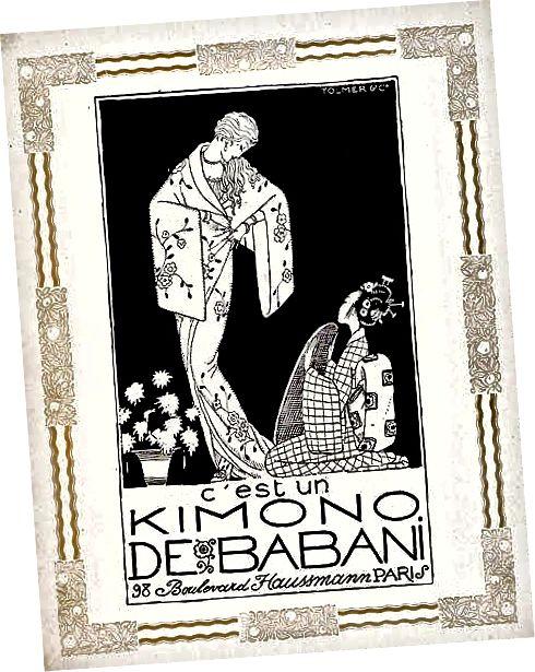 یک تبلیغ فرانسوی ، یک زن پنهان کیمونو اروپایی را در یک موقعیت غالب بالاتر از زن ژاپنی زانو زده نشان می دهد