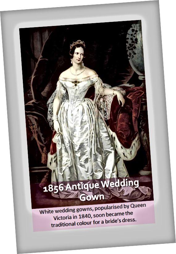 Starožitné svatební šaty z 19. století vyrobené z saténu a krajky ve stylu mimo rameno, které obvykle nosí šlechtici a elity té doby.