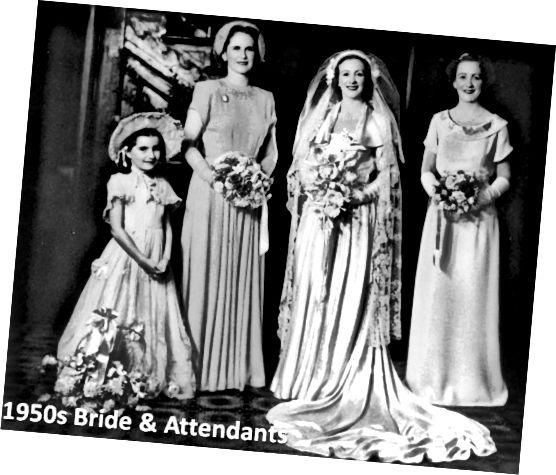 Vintage svatební šaty - fotografie padesátých let nevěsty a jejích průvodců.