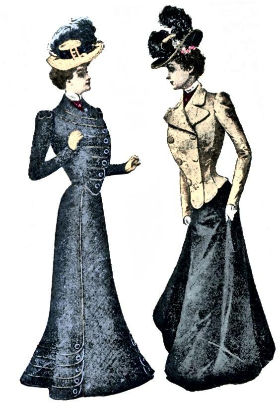 1899 žen oblečených v oblecích - do této doby ztratily rukávy své opuchy.