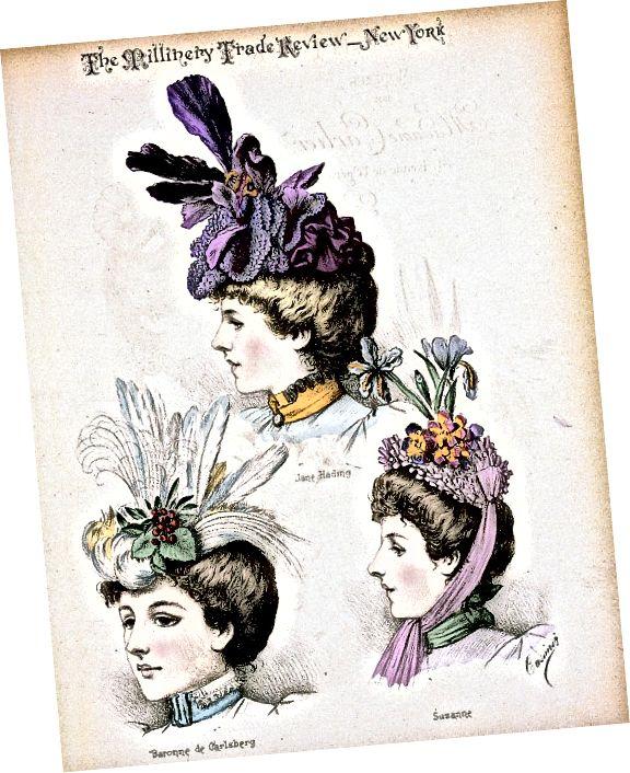 Klobouky cca 1897 navržené pařížskou Madame Emilie Carlierovou.