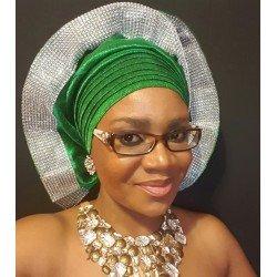 Emerald Green Metallic Net Gele με Bling Trim.