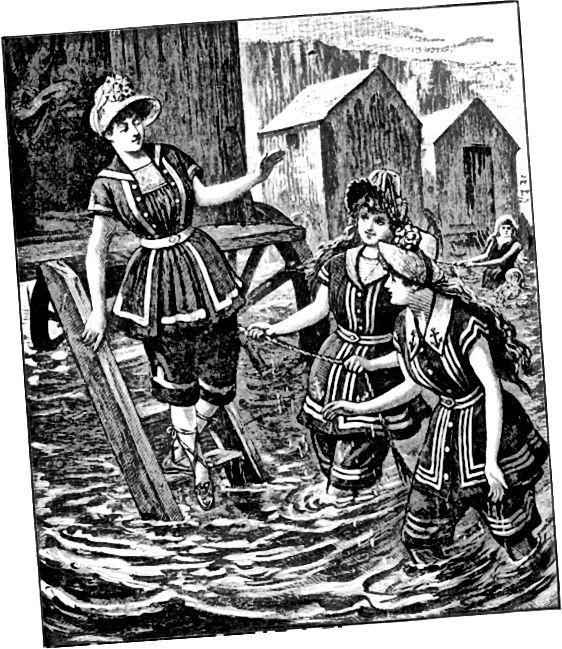 Γυναίκες με βικτοριανές στολές κολύμβησης γύρω στο 1887