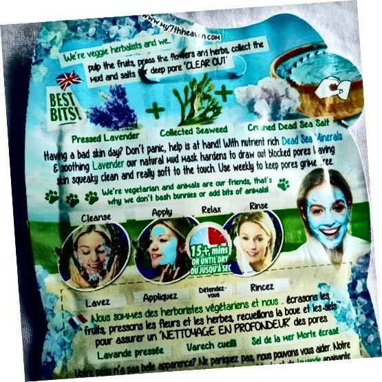 As instruções no verso da embalagem da 7ª máscara de lama do céu do mar morto.