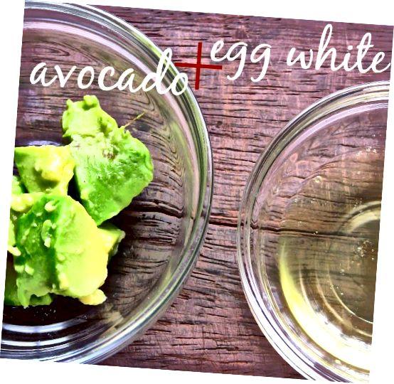 ترکیبات خود را جمع کنید - ساده ، فقط مقداری آووکادو و سفیده تخم مرغ. ماسک های ساده صورت بهترین هستند!