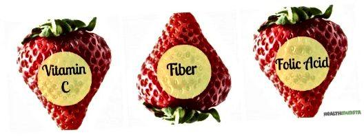 Dit zijn enkele van de belangrijke voedingsstoffen in aardbeien die het een belangrijk voedingsmiddel maken voor een mooie huid - vitamine C - foliumzuur - vezels.