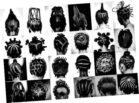 Skaisti jorubu frizūru piemēri