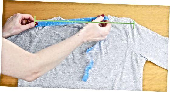 Trešā metode: izmērīt pleca platumu ar kreklu