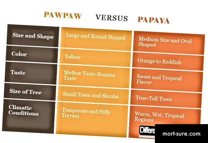 Atšķirība starp Pawpaw un Papaya