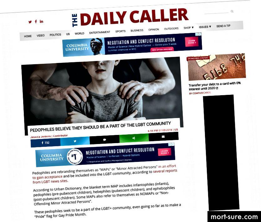 Il Daily Caller ha scritto un articolo sui pedofili che cercano di entrare nella comunità LGBTQIA +. Quando è apparso in diversi media su questo argomento, è stato un evento molto controverso.