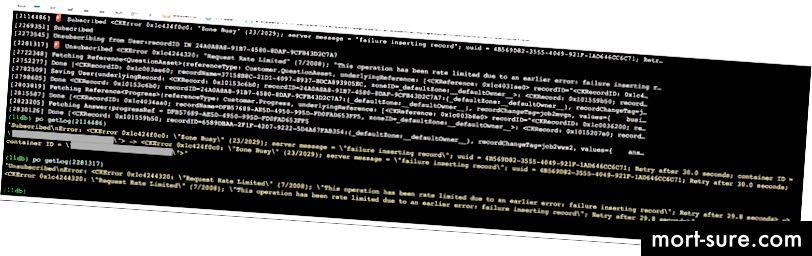 Грешки по време на отстраняване на грешки в нашето приложение в реално време в CloudKit