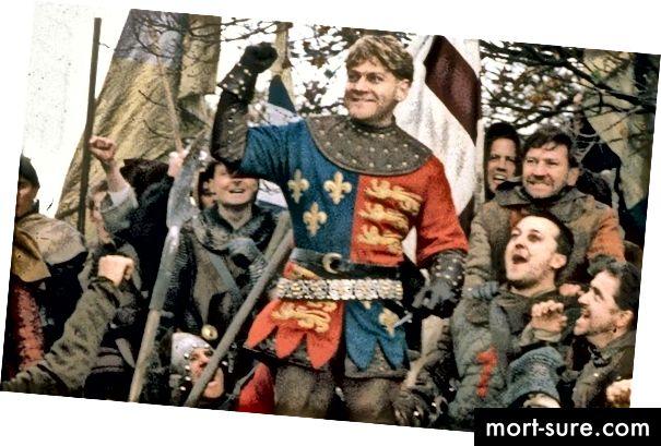 Фенът на шпорите сър Кенет Бранаг като крал Хенри:
