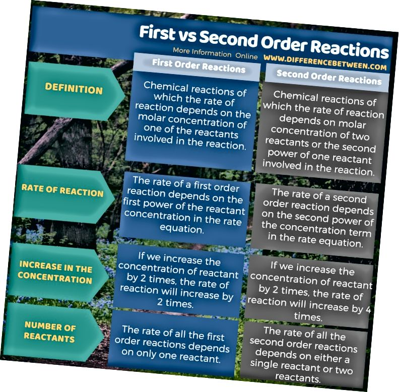 الفرق بين ردود الفعل الأولى والثانية في شكل جدول