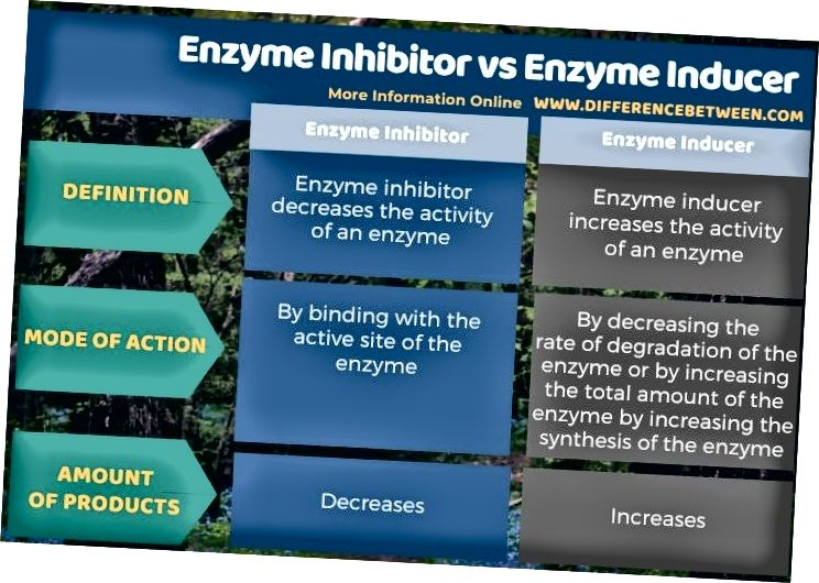 Ensüümi inhibiitori ja ensüümi indutseerija erinevus tabelina