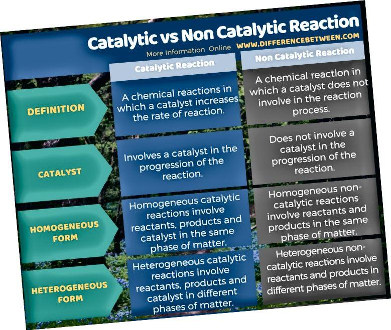 الفرق بين التفاعل الحفاز وغير التفاعلي في شكل جدول