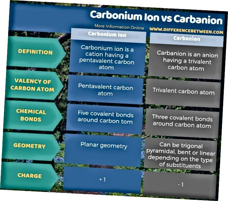 Разлика между карбониев йон и карбанион в таблична форма