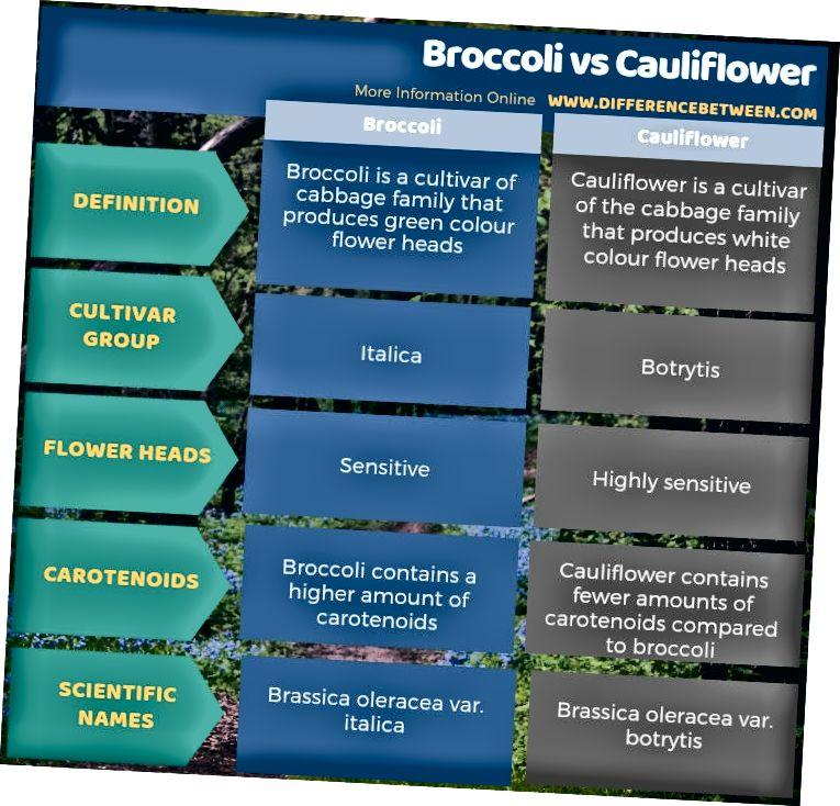 Разлика между броколи и карфиол - таблична форма