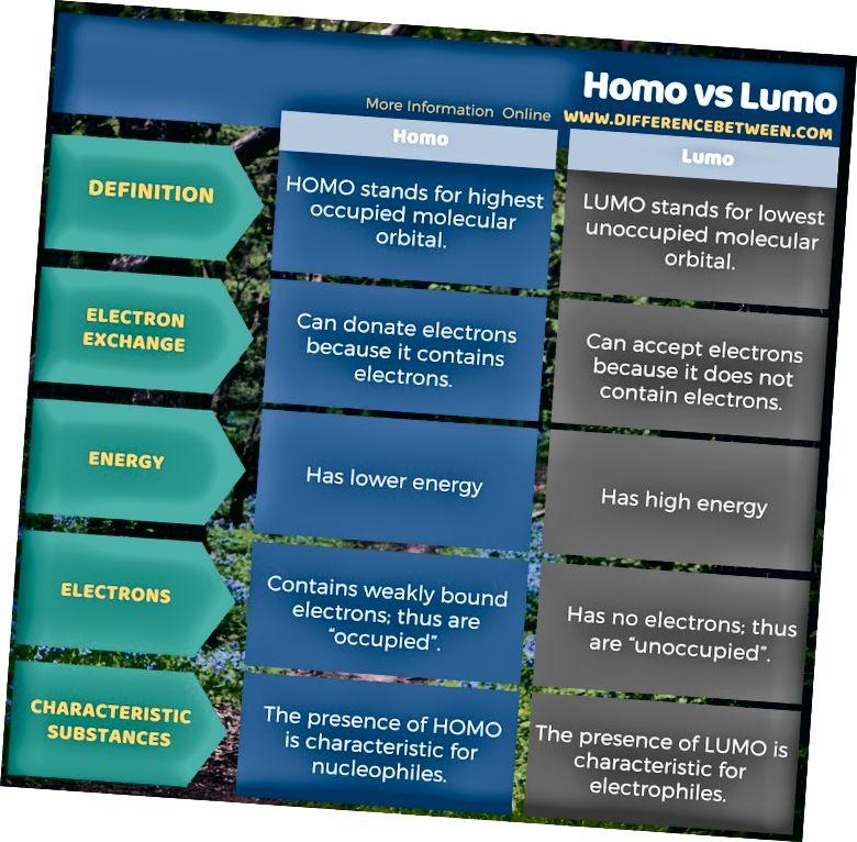 Atšķirība starp Homo un Lumo tabulas formā