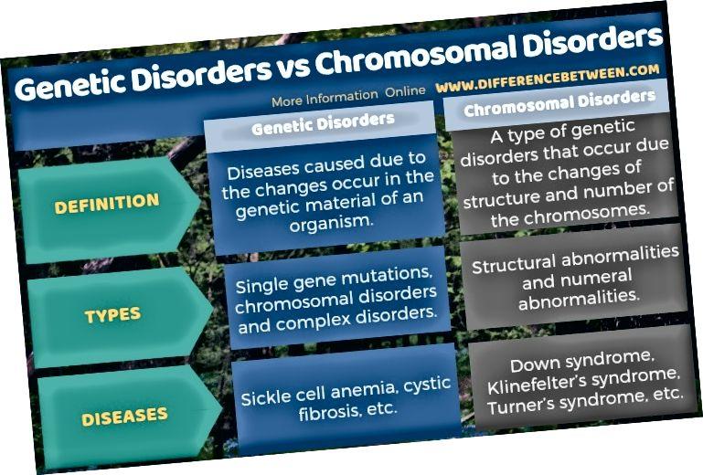 Разлика между генетични разстройства и хромозомни разстройства в таблична форма