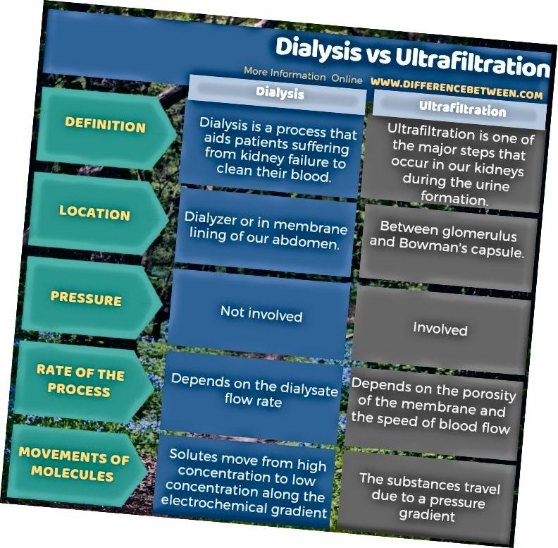 Tabiat shaklida Dializ va Ultrafiltratsiya o'rtasidagi farq