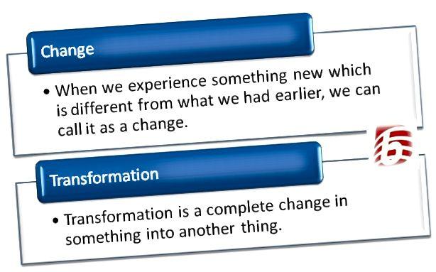 Разлика между промяна и трансформация
