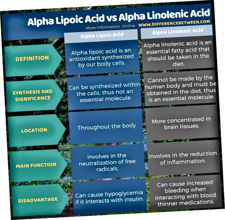 Տարբերությունը `ալֆա լիպոիկ թթվի և ալֆա լինոլենաթթվի միջև, աղյուսակային տեսքով