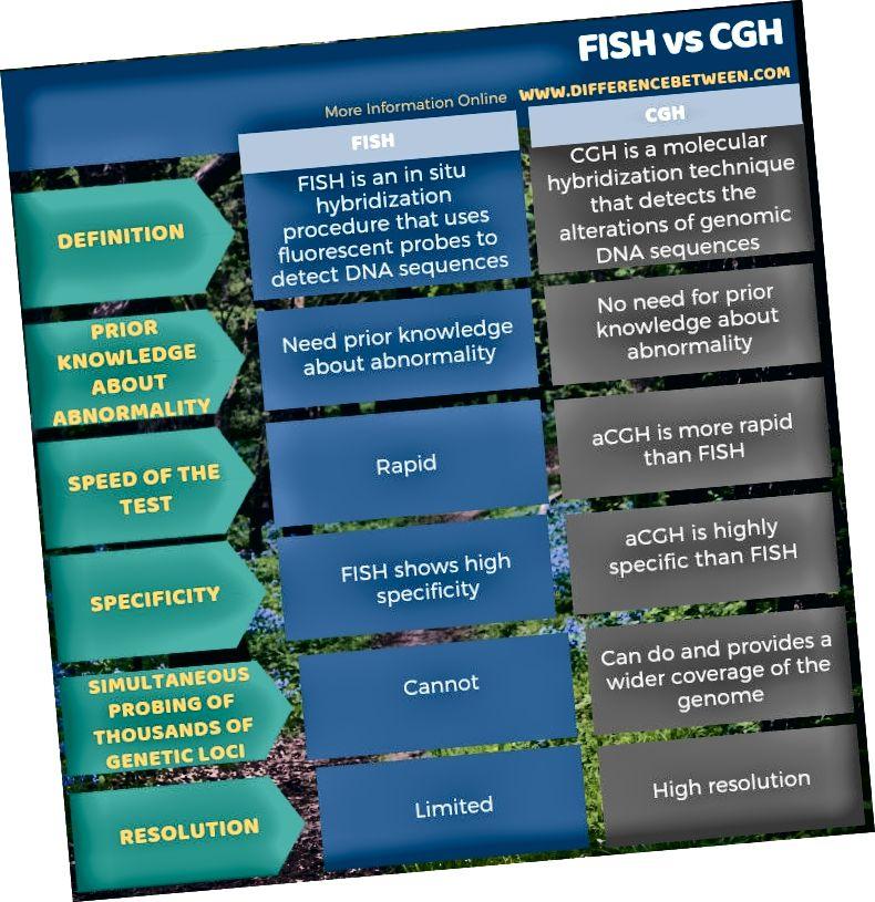 الفرق بين FISH و CGH في شكل جدول