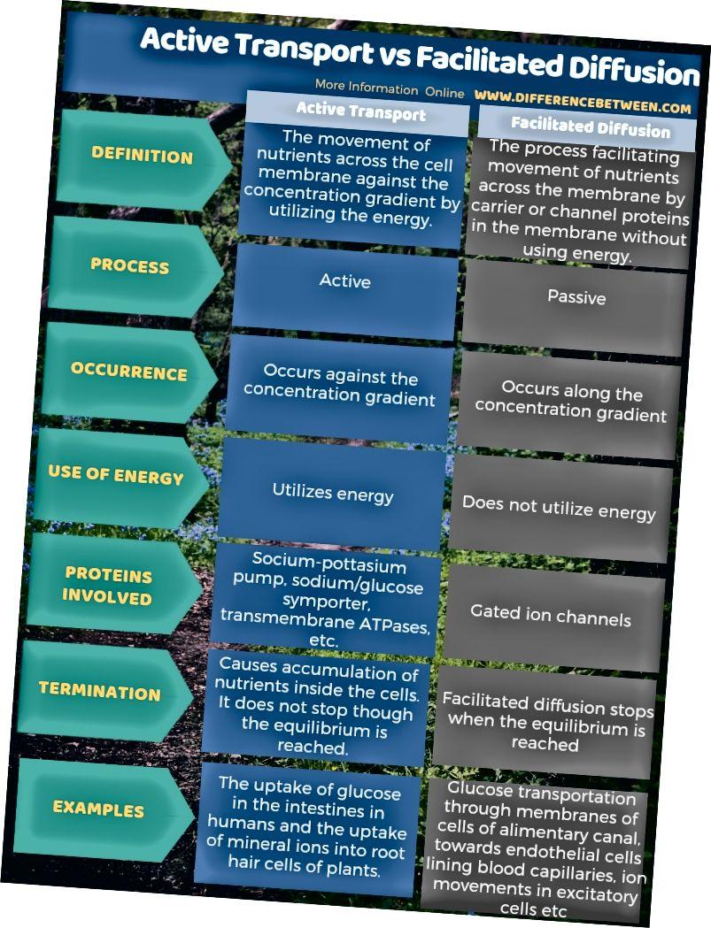 Diferența dintre transportul activ și difuziunea facilitată în formă tabulară