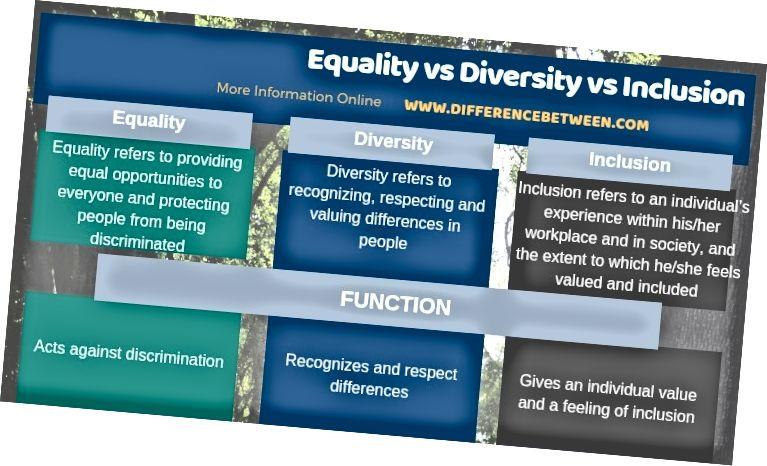 Ënnerscheed tëscht der Gläichheet Diversitéit an der Inklusioun an Tabulärer Form