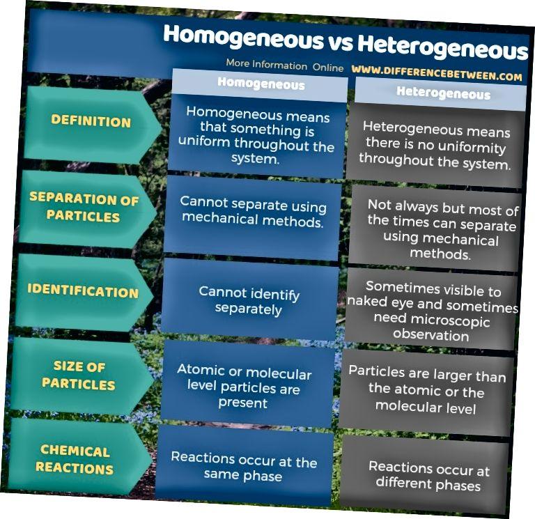 Различие между гомогенным и гетерогенным в табличной форме