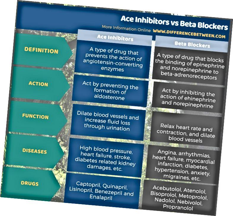 Ënnerscheed tëscht Ace-Inhibitoren a Beta-Blocker a Tabellform