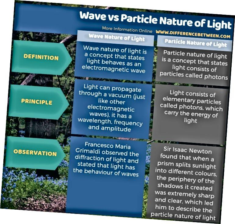 الفرق بين الموجة والطبيعة الجزيئية للضوء في شكل جدول