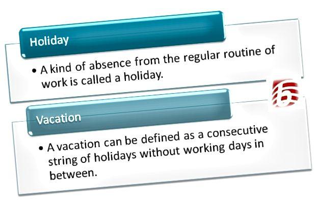 Atšķirība starp brīvdienām un atvaļinājumiem