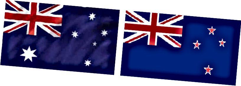 Διαφορά μεταξύ σημαίας Αυστραλίας και σημαίας Νέας Ζηλανδίας