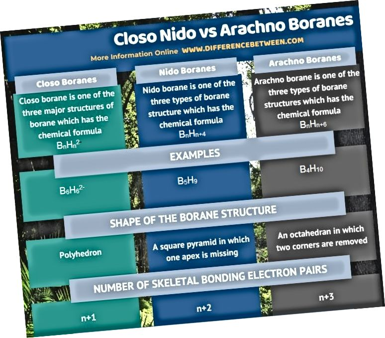 Разлика между Closo Nido и Arachno Boranes в таблична форма