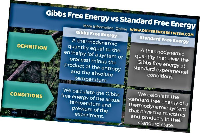 Unterschied zwischen Gibbs Free Energy und Standard Free Energy in tabellarischer Form