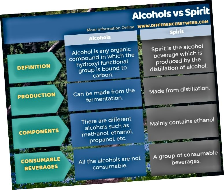 Rozdíl mezi alkoholy a alkoholem v tabulkové formě