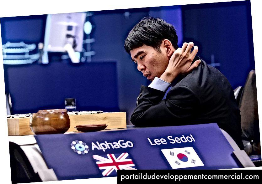 Google द्वारा प्रदान की गई इस हैंडआउट छवि में, दक्षिण कोरियाई पेशेवर गो खिलाड़ी ली से-डॉल ने 13 मार्च, 2016 को सियोल, दक्षिण कोरिया में Google DeepMind Challenge मैच के दौरान Google के कृत्रिम बुद्धिमत्ता कार्यक्रम, AlphaGo के खिलाफ चौथे मैच के बाद मैच की समीक्षा की। Getty Images के माध्यम से
