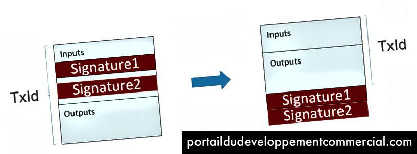 SegWit déplace les données de signature jusqu'à la fin de la transaction, après quoi elles ont été supprimées avant d'être stockées dans un bloc, source: Programmation des chaînes de caractères