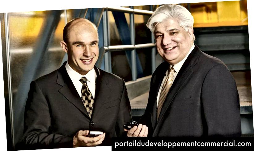 Happier Times: Les co-PDG de Research In Motion, Jim Balsillie (à gauche) et Mike Lazaridis (à droite)