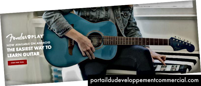 Snimka zaslona s Fenderove web stranice koja prikazuje žensku gitaristu i ističe Fenderovu