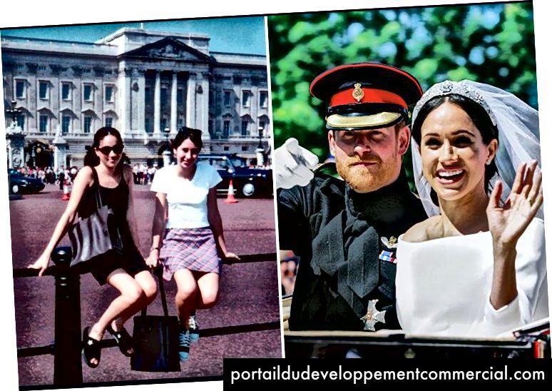 Meghan Markle au Buckingham Palace en tant que touriste en 1996, mariée au prince Harry en 2018 (photo: Splash News).